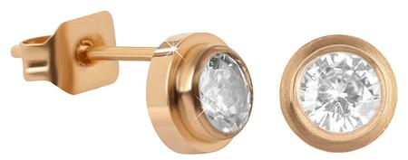 Troli Pozlacené ocelové náušnice pecičky s krystalem