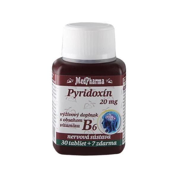 MedPharma Pyridoxin 20 mg – doplněk stravy s obsahem vitamínu B6 30 tbl. + 7 tbl. ZDARMA