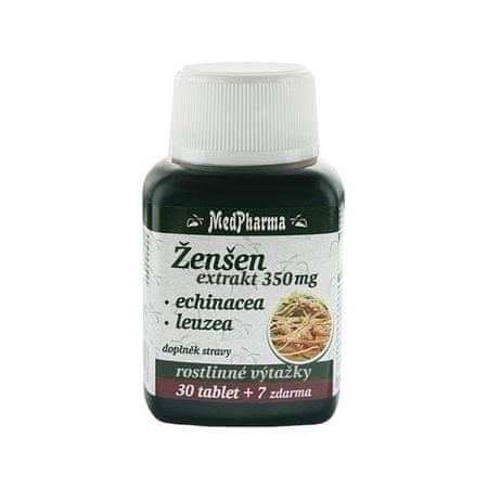 MedPharma Ženšen 350 mg + echinacea + leuzea 30 tbl. + 7 tbl. ZDARMA