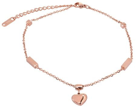 Troli Pozłacane różowe złoto Łańcuchna nodze z z sercem