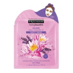 Freeman Zklidňující látková maska Lotos a levandulový olej (Calming Sheet Mask) 25 ml