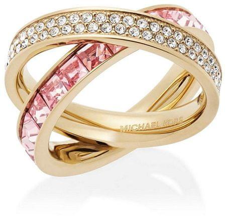 Michael Kors Dvojitý pozlacený prsten s krystaly MKJ5419710 (Obvod 54 mm)