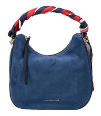 Tommy Hilfiger Dámská kabelka Iconic Foulard Leather Sm Hobo Suede Dutch  Blue e545383f3df