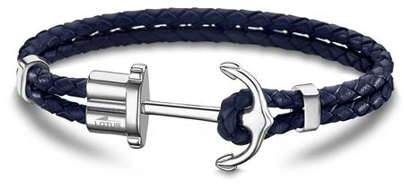 Lotus Style Tmavo modrý kožený náramok s kotvou LS1881-2   5  ecbf596ce2b