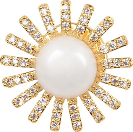 JwL Luxury Pearls Pozlátená ozdoba do klopy saka s pravou perlou a kryštály JL0381