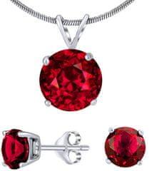 Silvego Strieborný set šperkov s červeným krištáľom JJJS7RR1 striebro 925/1000