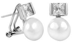 JwL Luxury Pearls Stříbrné náušnice s pravou perlou a krystaly JL0395 stříbro 925/1000