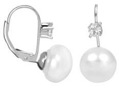 JwL Luxury Pearls Stříbrné náušnice s bílou perlou a krystalem JL0400 stříbro 925/1000