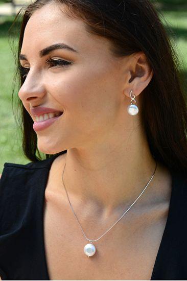 JwL Luxury Pearls Srebrna ogrlica s pravim biserom JL0404 (veriga, obesek) srebro 925/1000