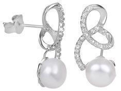 JwL Luxury Pearls Stříbrné náušnice s pravou perlou a zirkony JL0408 stříbro 925/1000
