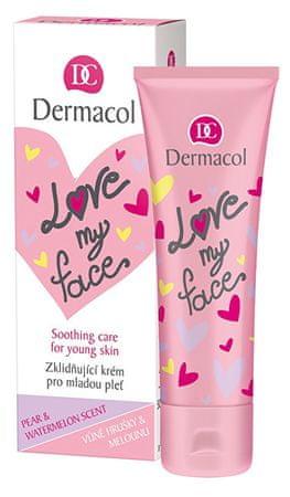 Dermacol Wygładzający i jednoczący krem dla młodej skóry o zapachu gruszki i melona Love My Face (Soothing