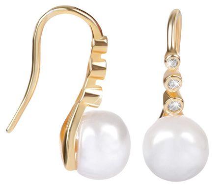 JwL Luxury Pearls Pozlátené strieborné visiace náušnice s pravou perlou JL0411 striebro 925/1000