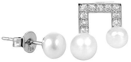 JwL Luxury Pearls Aszimmetrikus gyöngy fülbevaló cirkónia kővel JL0415 ezüst 925/1000