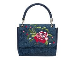 Guess Dámská kabelka Heather Embroidered Flap Satchel Denim