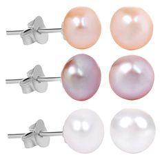 JwL Luxury Pearls Zvýhodněná sada perlových náušnic JL0426 stříbro 925/1000