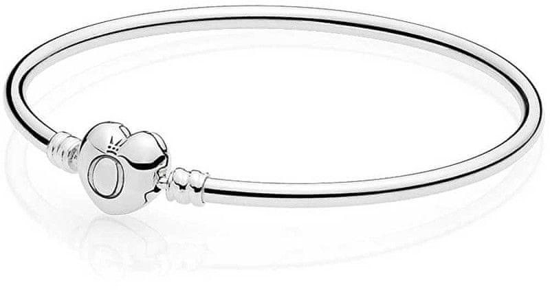 1c332a9ba Pandora Pevný náramek se srdíčkovým zapínáním 596268 (Délka 19 cm) stříbro  925/1000