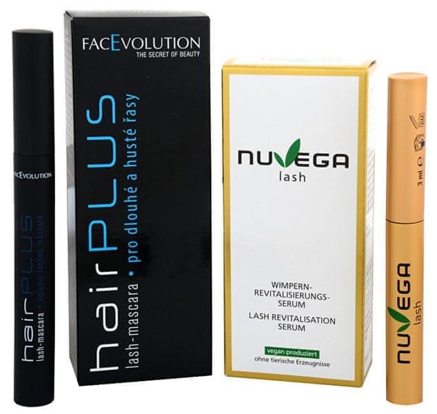 FacEvolution Dárkový balíček Veganské růstové sérum pro řasy a obočí (Nuvega Lash) 3 ml + Objemová řasenka Hairpl