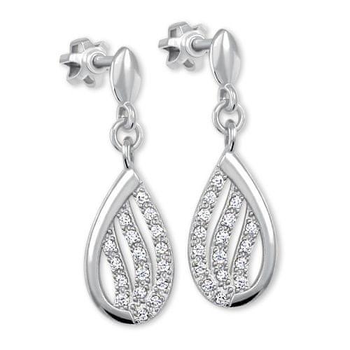 Brilio Třpytivé náušnice z bílého zlata s krystaly 239 001 00875 07 ... 5ffd4f95877