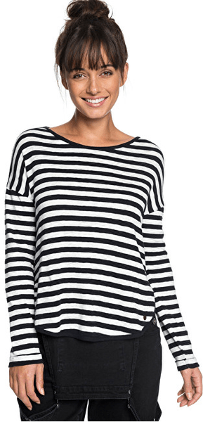Roxy Dámské triko Curious Direction True Black Big Simple Stripe ERJKT03464-KVJ3 (Velikost XS)