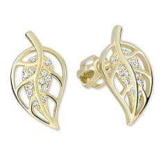 Brilio Zlaté náušnice lístečky s krystaly 239 001 00890 - 1,85 g zlato žluté 585/1000