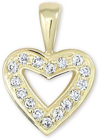 Brilio Zlatý přívěsek srdce s krystaly 249 001 00106 - 0,70 g zlato žluté 585/1000