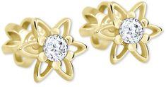Brilio Zlaté hvězdičkové náušnice s krystalem 236 001 00911 - 1,10 g zlato žluté 585/1000