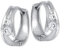 Brilio Zlaté náušnice kroužky s krystaly 239 001 00800 07 - 1,60 g zlato bílé 585/1000