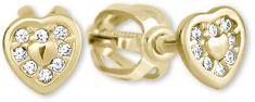 Brilio Zlaté náušnice Srdíčka s krystaly 239 001 00724 - 0,95 g zlato žluté 585/1000