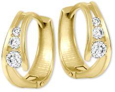 Brilio Zlaté náušnice kroužky s krystaly 239 001 00800 - 1,60 g zlato žluté 585/1000