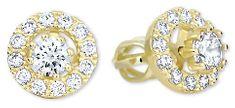 Brilio Zlaté kulaté náušnice s čirými krystaly 2v1 239 001 00860 - 2,25 g zlato žluté 585/1000