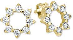 Brilio Zlaté sluníčkové náušnice s krystaly 239 001 00887 - 1,90 g zlato žluté 585/1000