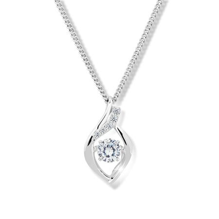 Modesi Nádherný náhrdelník s kryštálom a zirkónmi M43066 striebro 925/1000