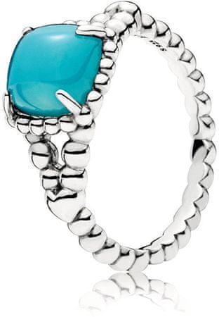Pandora Srebrny pierścionek z turkusowym kamieniem 197188NSC (obwód 52 mm) srebro 925/1000