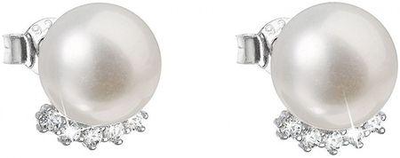 Evolution Group Stříbrné náušnice pecky s pravými perlami 21020.1 stříbro 925/1000