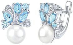 Silvego Stříbrné náušnice MARIANNE s přírodní perlou a pravým topazem FNJE0434tb stříbro 925/1000