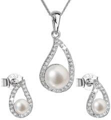 Evolution Group Luxusná strieborná súprava s pravými perlami Pavona 29027.1 striebro 925/1000