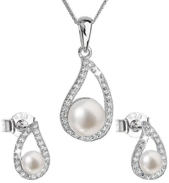 Evolution Group Luxusní stříbrná souprava s pravými perlami 29027.1 stříbro 925/1000