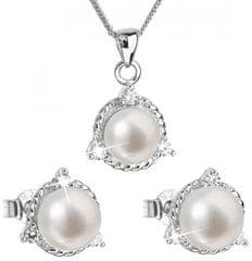 Evolution Group Luxusná strieborná súprava s pravými perlami Pavona 29033.1 striebro 925/1000