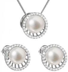 Evolution Group Luxusná strieborná súprava s pravými perlami Pavona 29034.1 striebro 925/1000