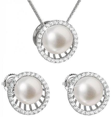 Evolution Group Luksusowy komplet srebrny z prawdziwymi perłami 29034.1 srebro 925/1000
