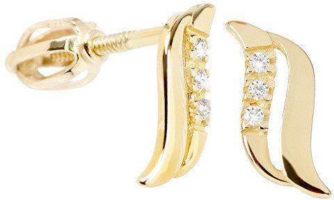 Brilio Něžné náušnice ze žlutého zlata s krystaly 239 001 00519