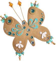Petra Švarcová Zlatá brož s korálky Motýl