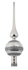 Seizis Špička skleněná se třpytem, 30x8 cm, stříbrná