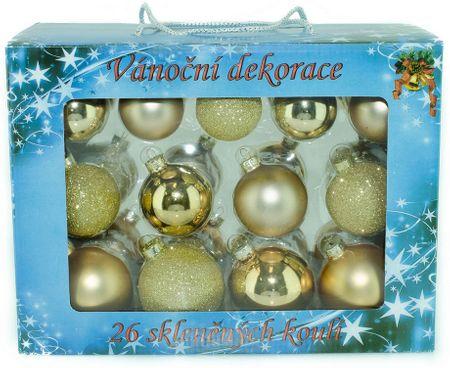 Seizis zestaw 26 szklanych bombek, mat / połysk 5-6,5 cm, złote