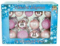 Seizis Set 26 skleněných koulí, mat/lesk 5-6,5 cm, růžové