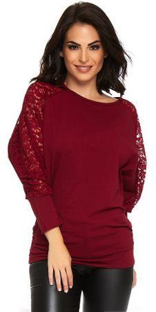 ANOUSHKA ženska majica s kratkimi rokavi Vanessa, S, vinska