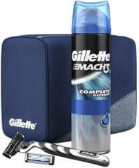 Gillette Mach3 Holicí Strojek + Hlavice + Gel Na Holení + Taška Sada
