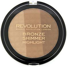 Makeup Revolution Bronzující pudr a rozjasňovač v jednom (Ultra Bronze Shimmer and Highlighter)