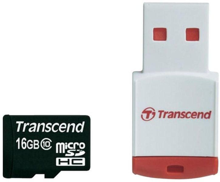 Transcend Micro SDHC 16GB Class 10 + USB čtečka (TS16GUSDHC10-P3)