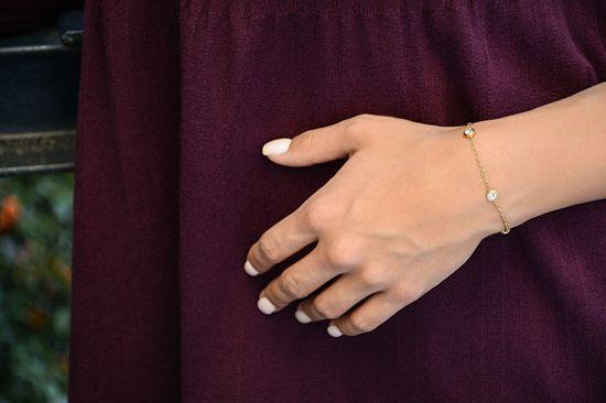 Troli Pozłacana stal bransoletka z błyszczącymi ornamentami